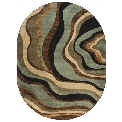 Jordon Nirvana Waves Multi / Blue Area Rug Rug Size: 53 x 73