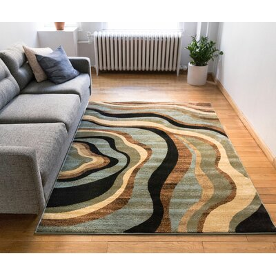 Jordon Nirvana Waves Multi / Blue Area Rug Rug Size: Rectangle 710 x 910