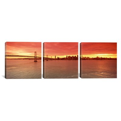 San Francisco Skyline, Bay Bridge 3 Piece Photographic Print on Wrapped Canvas Set Size: 12