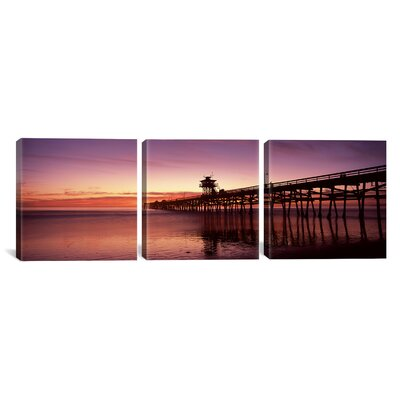 San Clemente Pier, Los Angeles County, California 3 Piece Photographic Print on Wrapped Canvas Set Size: 12