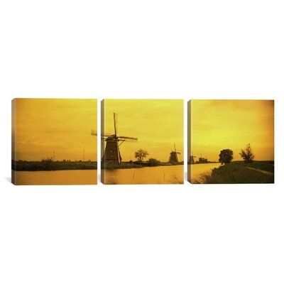 Windmills Netherlands 3 Piece Photographic Print on Wrapped Canvas Set Size: 12