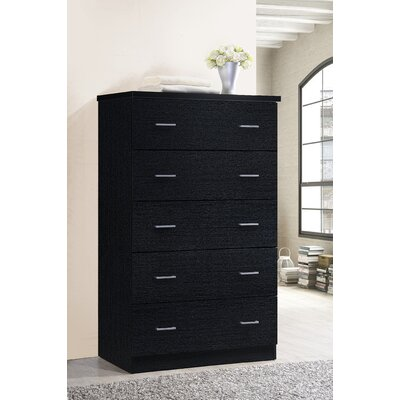 Jamison 5 Drawer Jumbo Chest Color: Black