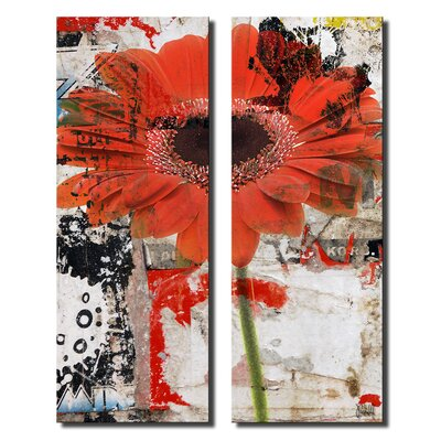 'Painted Petals LXX' 2 Piece Graphic Art on Canvas Set