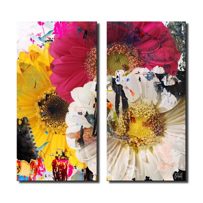 'Painted Petals LXXXVII' 2 Piece Graphic Art on Canvas Set