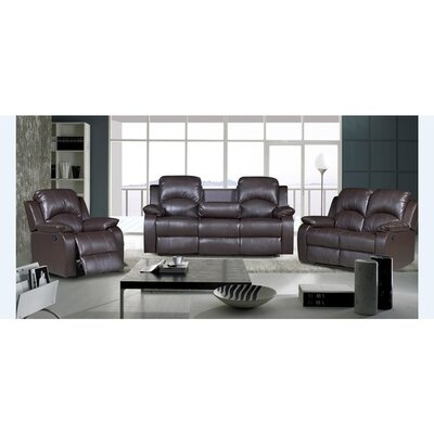 Willian 3-piece Bonded Leather Recliner Set Upholstery: Chocolate