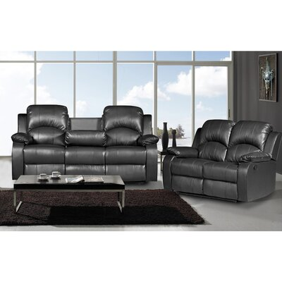 Willian 2 Piece Leather Living Room Set Upholstery: Black