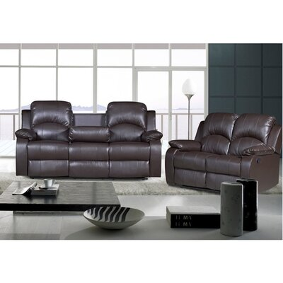 Willian 2-piece Bonded Leather Recliner Sofa Loveseat Set Upholstery: Chocolate