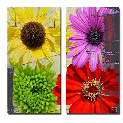 'Painted Petals XXXVIII' 2 Piece Graphic Art on Canvas Set Size: 24'' H x 24'' W x 1.5'' D