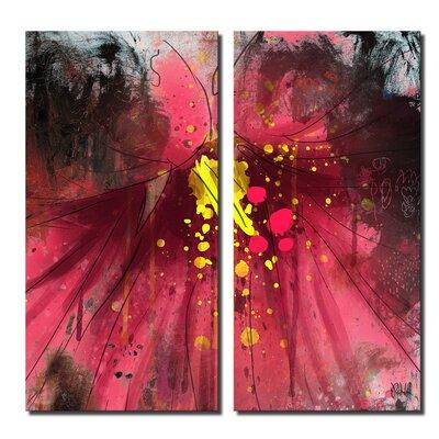 'Painted Petals LV' 2 Piece Graphic Art on Canvas Set Size: 24'' H x 24'' W x 1.5'' D