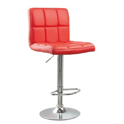 Winford Adjustable Height Swivel Bar Stool Upholstery: Red