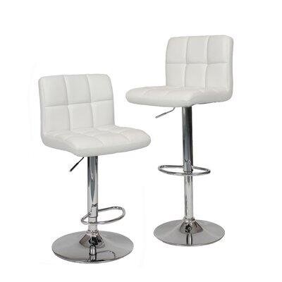 Winford Adjustable Height Swivel Bar Stool Upholstery: White