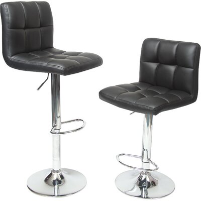 Winford Adjustable Height Swivel Bar Stool Upholstery: Black