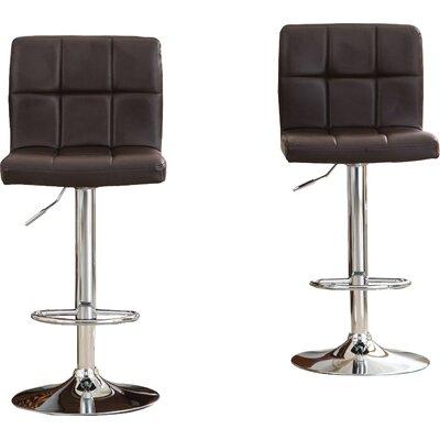 Winford Adjustable Height Swivel Bar Stool Upholstery: Brown