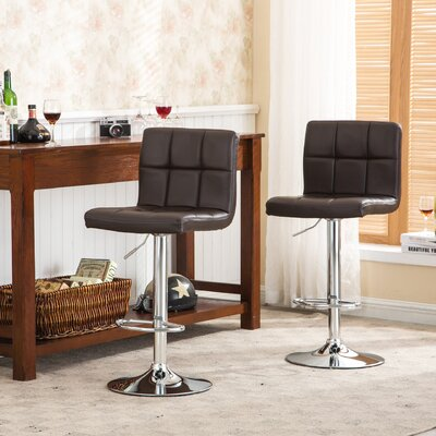 Winford Adjustable Height Swivel Bar Stool Upholstery: Brown