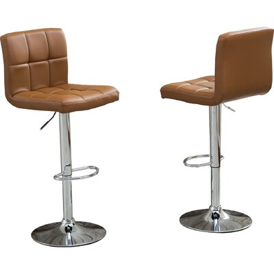 Winford Adjustable Height Swivel Bar Stool Upholstery: Camel