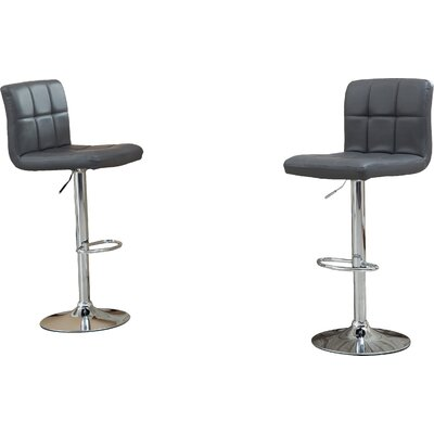 Winford Adjustable Height Swivel Bar Stool Upholstery: Grey