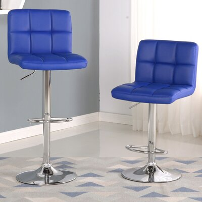 Winford Adjustable Height Swivel Bar Stool Upholstery: Blue