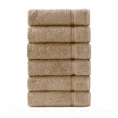 6 Pieces Hand Towel Color: Taupe