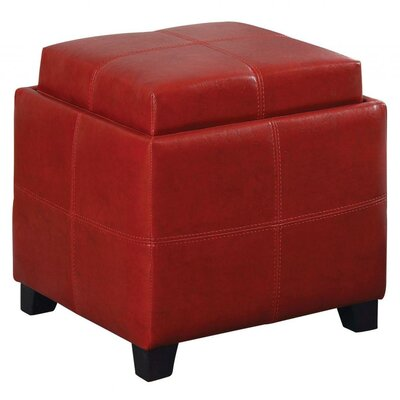 Alastar Storage Cube With Reversible Tray Upholstery: Red