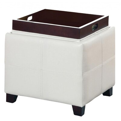 Alastar Storage Cube With Reversible Tray Upholstery: White