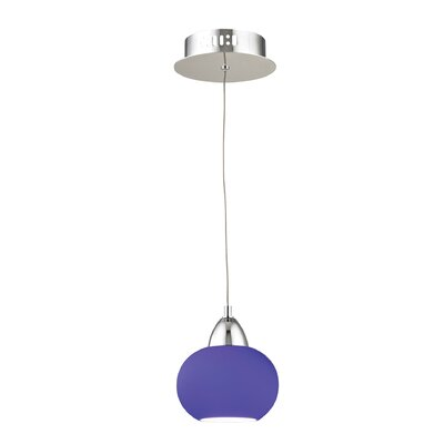 Leominster 1-Light Mini Pendant Base Finish: Satin Nickel, Shade Color: Blue