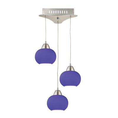 Leominster 3-Light Cascade Pendant Base Finish: Satin Nickel, Shade Color: Blue