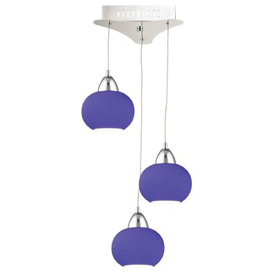Leominster 3-Light Cascade Pendant Base Finish: Chrome, Shade Color: Blue