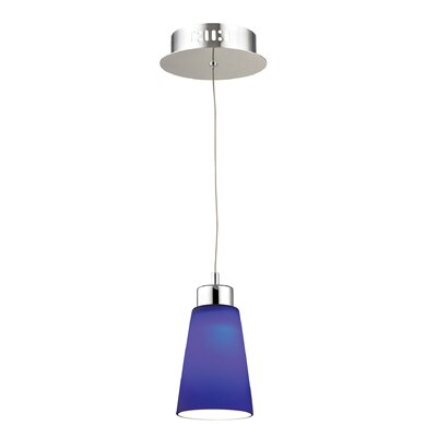 Leverett 1-Light Mini Pendant Base Finish: Satin Nickel, Shade Color: Blue