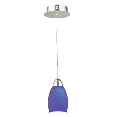 Littleton 1-Light Mini Pendant Base Finish: Satin Nickel, Shade Color: Blue