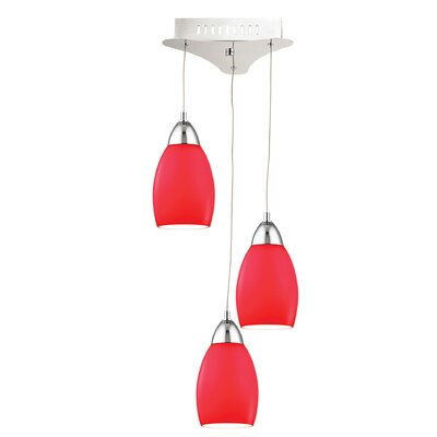 Littleton 3-Light Cluster Pendant Base Finish: Chrome, Shade Color: Red