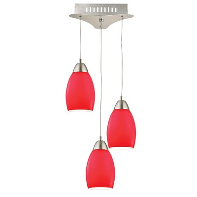Littleton 3-Light Cascade Pendant Base Finish: Satin Nickel, Shade Color: Red