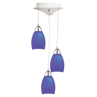 Littleton 3-Light Cascade Pendant Base Finish: Chrome, Shade Color: Blue