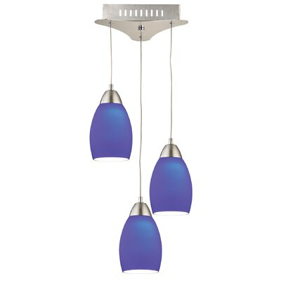 Littleton 3-Light Cascade Pendant Base Finish: Satin Nickel, Shade Color: Blue