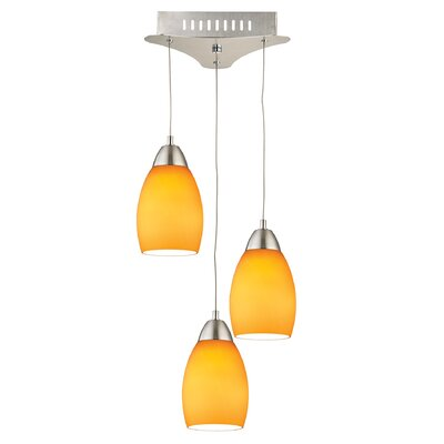 Littleton 3-Light Cluster Pendant Base Finish: Satin Nickel, Shade Color: Yellow