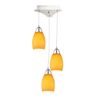Littleton 3-Light Cluster Pendant Base Finish: Chrome, Shade Color: Yellow