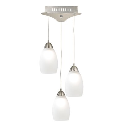 Littleton 3-Light Cascade Pendant Shade Color: White, Base Finish: Satin Nickel