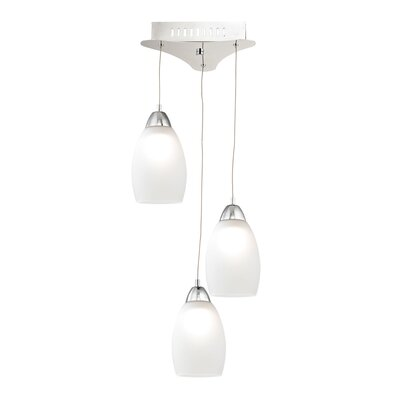 Littleton 3-Light Cascade Pendant Base Finish: Chrome, Shade Color: White
