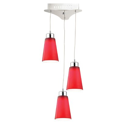 Leverett 3-Light Cascade Pendant Base Finish: Satin Nickel, Shade Color: Red