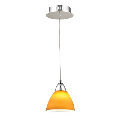 Lynnfield 1-Light Inverted Pendant Base Finish: Satin Nickel, Shade Color: Red