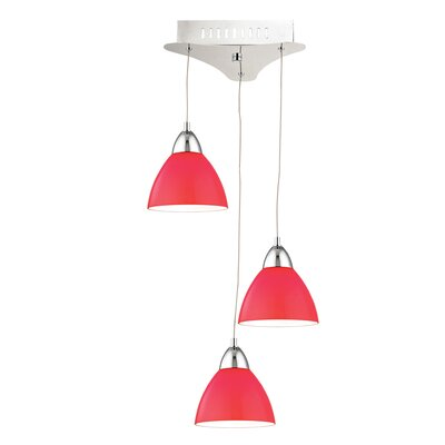 Lynnfield 3-Light Cascade Pendant Base Finish: Satin Nickel, Shade Color: Red