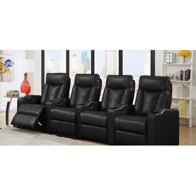 Home Theater Leather Recliner (Row of 4) Upholstery: Black