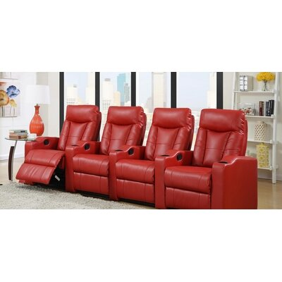 Home Theater Leather Recliner (Row of 4) Upholstery: Red