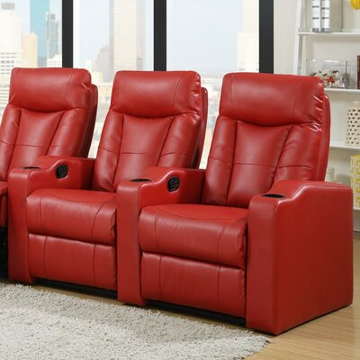 Home Theater Recliner (Row of 2) Upholstery: Red