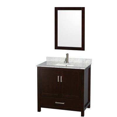 Sheffield 36 Single Espresso Bathroom Vanity Set with Mirror Top Finish: White Carrera Marble, Faucet Mount: Single Hole