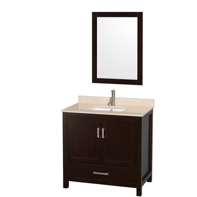 Sheffield 36 Single Espresso Bathroom Vanity Set with Mirror Top Finish: Ivory Marble, Faucet Mount: Single Hole