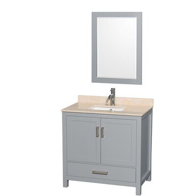 Sheffield 36 Single Gray Bathroom Vanity Set with Mirror Top Finish: Ivory Marble, Faucet Mount: Single Hole