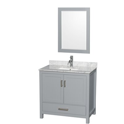 Sheffield 36 Single Gray Bathroom Vanity Set with Mirror Top Finish: White Carrera Marble, Faucet Mount: Single Hole