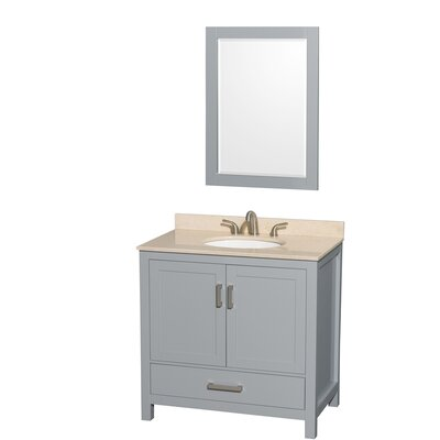 Sheffield 36 Single Gray Bathroom Vanity Set with Mirror Top Finish: Ivory Marble, Faucet Mount: 8 Centers