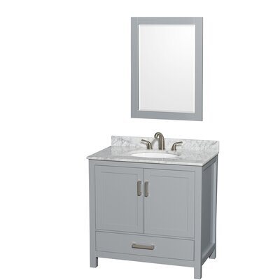 Sheffield 36 Single Gray Bathroom Vanity Set with Mirror Top Finish: White Carrera Marble, Faucet Mount: 8 Centers