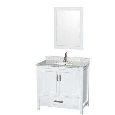 Sheffield 36 Single White Bathroom Vanity Set with Mirror Top Finish: White Carrera Marble, Faucet Mount: Single Hole